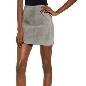 Blank NYC Leather Suede Zip Gray Mini Skirt